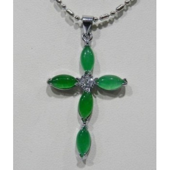 Collar cruz de jade