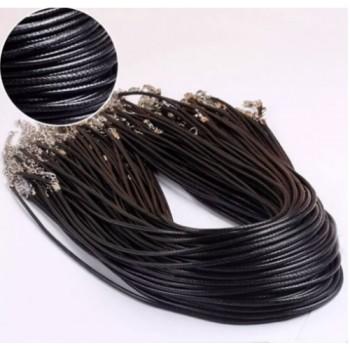 Pack 2 cordones cuero negro