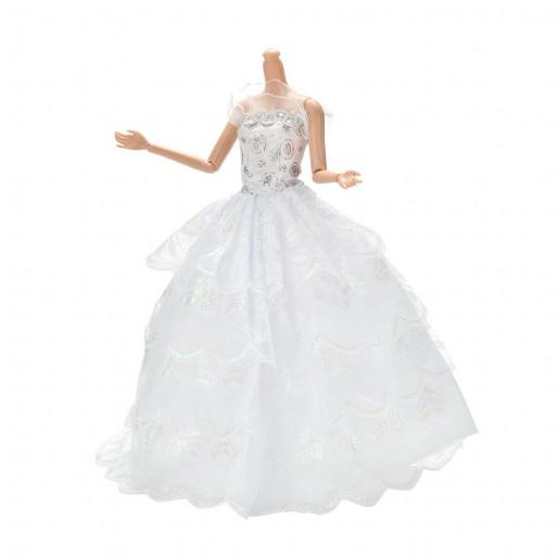 Vestido Para Blanco Boda De Encaje Hecho A Mano Para Barbie