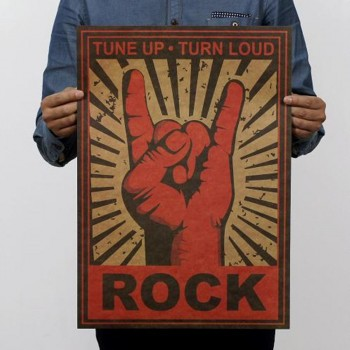Póster retro rock (mano)
