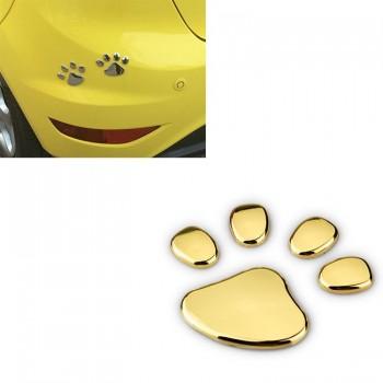 Pegatinas 3D huella animal oro