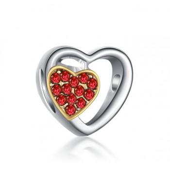 Charm doble corazón rojo