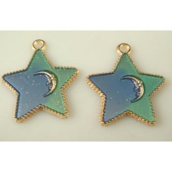 Colgante Estrella Verde y Azul
