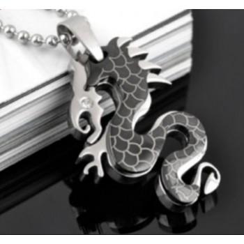 Collar en acero dragón negro