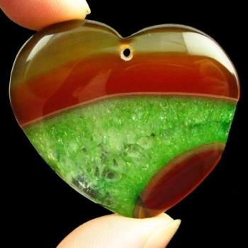 Corazón Geode ágata verde y...