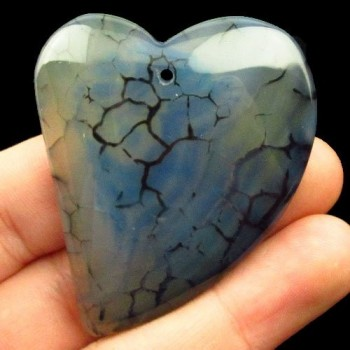 Corazón de Ágata azul con...