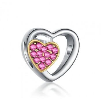 Charm doble corazón rosa