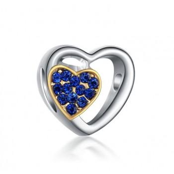 Charm doble corazón azul