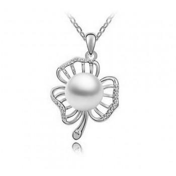Collar flor con perla