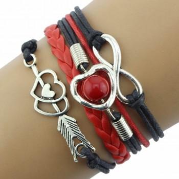 Pulsera rojo y negro - amor...